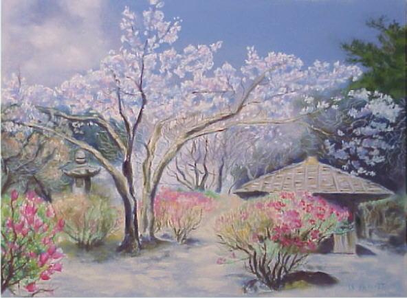 Dessin paysage au pastel jardin japonais agrandissement for Jardin japonais dessin