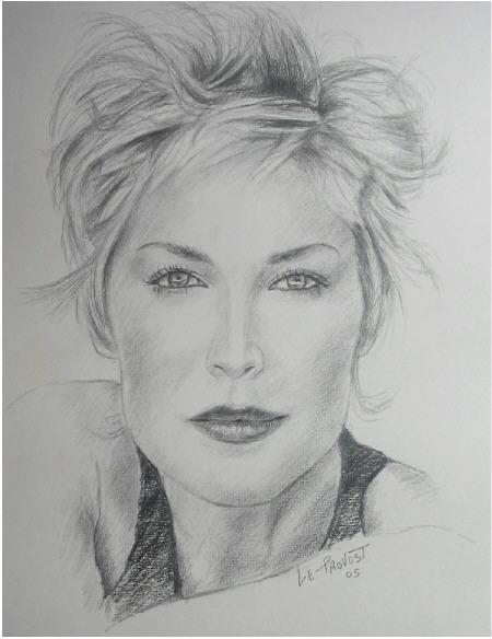 Bekannt dessin portrait sharon stone au crayon - agrandissement image RO66