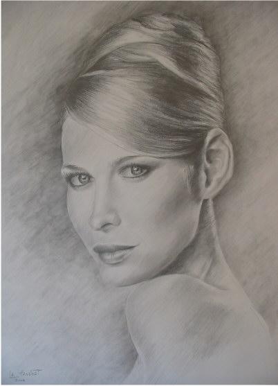 Bekannt dessin portrait de femme au crayon -dessin agrandissement RO66