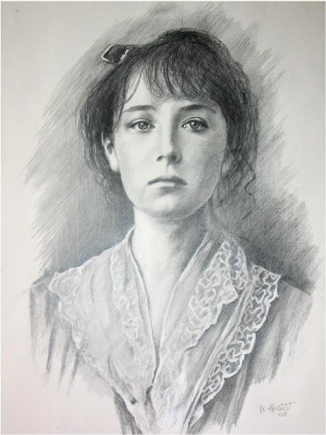 Gut bekannt dessin portrait femme au pastel michele - agrandissement image HC44