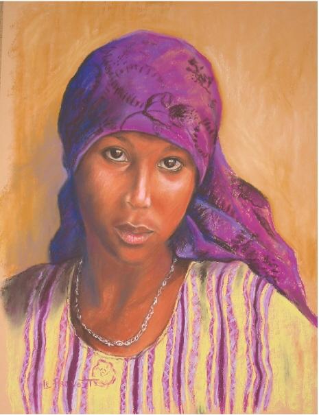 Fabuleux dessin portrait femme au pastel michele - agrandissement image EW48
